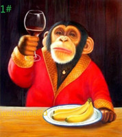 Wholesale 100 Handcraft Cute Monkey drinking Animals art oil painting on High Quality canvas In any customize size available love_olympic