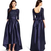 2016 vestidos de noche de las mangas con cuello redondo Una línea de vestidos formales para Madre de los vestidos de baile de alta Low azul de la novia con cuentas blusa de tafetán de la marina de guerra