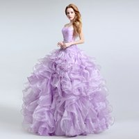 accent ball - Hot Sale Romantic Wedding Dresses Ball Gown Sweetheart Lace up Floor Length Sweep Train Organza Beading Rhinestone Color Accented
