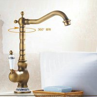 Wholesale NEW Classic Deck Mount Single Hand Bathroom Sink swivel Mixer Faucet Antique Brass Hot and Cold Water Tap