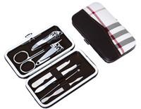 Wholesale 7pcs Set Nail Clipper Kit Nail Care Pedicure Scissor r Knife Ear pick Utility Manicure Set Tools Stone Pattern grid Case B