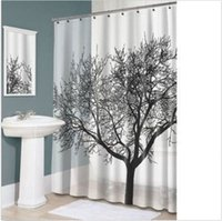 bathroom liners - Black Tree White Fabric Bathroom Shower Curtain Liner w Hooks Polyester420