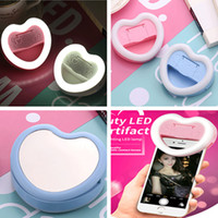 beauty mirror with lights - NEW heart shape LED selfie light clip on beauty led artifact lamp with makeup mirror mobile holder on line live show back light for iphone7