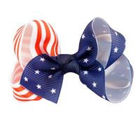 american flag clip - Handmade Children Boutiques Hair Jewelry American Flag Star Stripe Fabric Bow Hairpin Bow Clip Headbands Hair Accessories