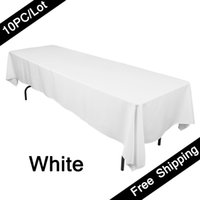 banquet table linen - 10PC Rectangular Table Cloth Polyester Seamless Wedding Party Table Cover Cloths Banquet Round Tablecloths Elegant Table Linen for Hotel