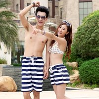 Wholesale summer Lovers Couple Striped Short Pants Womens Mens Beach Surf Board Shorts Fashion Design F209