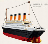 Wholesale new Building Block Set Compatible with big ship Titanic RMS Titanic D Construction Brick Educational Hobbies Toys for Kids gift free ship