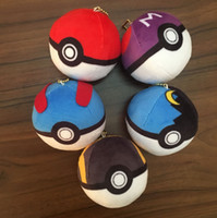 Wholesale 8cm Anime poke Monster Poke Ball Plush Toy Soft Stuffed Doll Poke Ash Poke Ball Plush Keychains Pendants Toys LJJH1448
