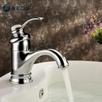 Wholesale AZOS Bathroom Basin Tap Brass Chrome Polish Color Single Hole Deck Mount Hot Cold Mixer Toilet Sink Faucet Furniture Replacements MPDKZ048C