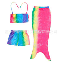 Wholesale Girls Kids Swimmable Mermaid Tail Swimwear Children Bikini Bathing Suit Swimsuit Beach Wear Baby Swimming Costume for T