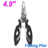 Wholesale 4 quot Stainless Steel Fishing Plier Pilers Scissors Line Cutter Hook Tackle Remove Tools Black FG