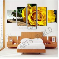 beautiful flowers pictures roses - 5 Panel Beautiful yellow roses oil painting on canvas flowers Wall Art Picture Home Decoration