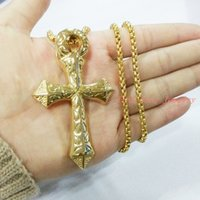 big crucifixes - Fashion Gold Crucifix Big Jesus Piece Cross Pendant Necklace High Quality L Stainless Steel