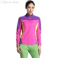 Wholesale Outdoor Quick drying T shirt Women Prevent Bask Breathable Zipper Long Sleeve Large Size T shirt Fitness Running Jerseyes