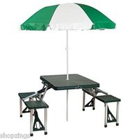 Wholesale Portable Folding Picnic Table with Umbrella Camping Park Beach Outdoor Suitcase