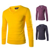 Wholesale new For Sale Men s V neck Sweaters Solid Color Pullover Sweater Shirts Discount XXL Basic Fine Knit Sweater For Men Cheap