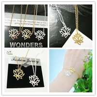 american lotus plant - Summer Fien Jewelry Sets Gold Plated Stainless Steel Blooming Lotus Pendant Necklace Stud Earrings Sets for Women S41