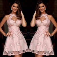 Wholesale Semi Formal Cocktail Dresses Illusion High Neck Blush Pink Lace Homecoming Dresses Sheer Neck Short Prom Party Gowns Sleeveless
