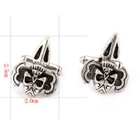 Wholesale wholesales punk style alloy skull head cuff link for decoration set