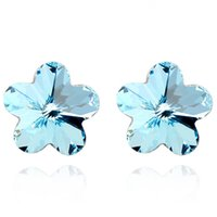 allergy free earings - JS E006 Turquoise Crystal Star Women Stud Earrings Silver Plated L Stainless Steel Allergy Free Earings Fashion Jewelry