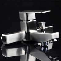 bathtub drawing - Sanitary Products Stainless Steel Drawing Hot And Cold Bathtub Shower Faucet Square Trigeminy Water Tap