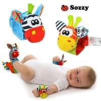 Wholesale Animal animal baby rattles with a wrist watch with socks with bell bell newborn baby toys