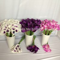 Wholesale NATURAL REAL TOUCH FLOWERS WHITE DARK PURPLE PINK CALLA LILY WEDDING BOUQUETS