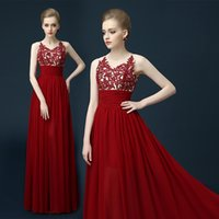 beautiful australia - 2016 Beautiful Dark Red Evening Dresses Sheer High Neck Chiffon Appliques Lace Long Prom Gowns Australia Party Dress