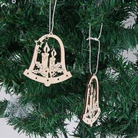 bell ornaments - Laser Cut Wood Hanging Ornament Santa Claus Snowflake Bell Ornaments Wood Embellishment Christmas Tree Decoration Party Decorating