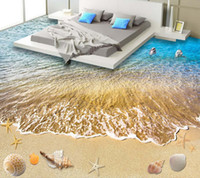 bathroom flooring materials - Custom wallpaper mural waterproof floor D starfish shell living room bathroom kitchen floor mural wallpaper PVC self adhesive bag mail sen