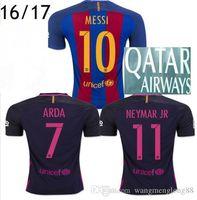 Wholesale Thailand quality Barcelonaejersey Customized Men Home Jersey Camiseta de Neymar JR Messi Suarez A Iniesta Maillot Barc