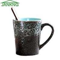Wholesale JANKNG mL Western Design Ceramic Coffee Mugs Cup Hand Painted Coffee Blue Sea Travel Mug Milk Tea Cup Elegance Mug Girl Gift