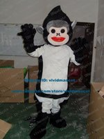 ape face - Smart Black Monkey Ape Simian Mascot Costume Cartoon Character Mascotte Adult Flesh Pink Face White Ears NO