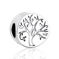 beads for life - Tree of life Round Charm Bead Sterling Silver for Christams Gift Fits Snake Chain Bracelet Jewelry No50 lw T108