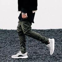 Wholesale 2016 Newest men sport hip hop pants side zippers joggers mens casual fear of god jogging harem pants trousers pantalon homme