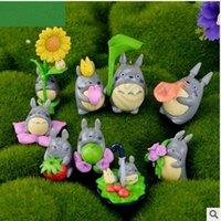 Wholesale 100set CCA4257 High Quality set My Neighbor Totoro Figure Gifts Doll Resin Miniature Figurines Toys cm PVC Japanese Totoro Cartoon Toy