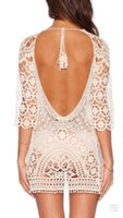Wholesale 2016041701 crochet beach cover up New swimdress Lace Bikini Cover ups Women Loose Dress Swimwear Cover ups Dresses saida de praia coverups