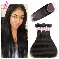 Wholesale Brazilian Straight Human Hair with closure A Unprocessed Human Hair with lace closure bundles Brazilian Straight Hair with closure