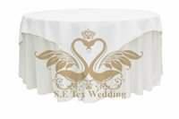 Wholesale 72 quot Size Polyester Table Overlay In White Or Black Color