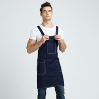 adjustable bib aprons - Newest Women Man Cotton Denim Apron Home Kitchen Baking Cafe Shop Waiters Jeans Apron With Pocket Adjustable Bib