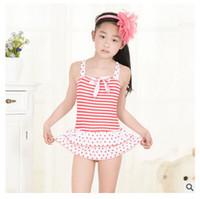 Wholesale new children s swimsuit girls Bikinis One Pieces Korean striped skirt style girls swimwear kids swim swimsuit infant baby swim designs