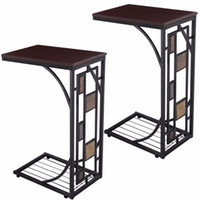 Wholesale 2PCS Coffee Tray Side Sofa Table Ottoman Couch Console Stand End TV Lap Snack