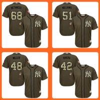 bernie williams baseball - 2016 Yankees Dellin Betances Bernie Williams Andrew Miller Mariano Rivera Green Salute to Service Stitched Baseball Jersey