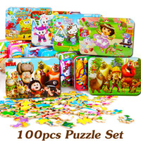 Wholesale 100PCS Kids Jigsaw Puzzle Wooden Puzzles For Children Wooden Toys Cartoon Baby Educational Toys Kids Birthday Gift Toys TY78