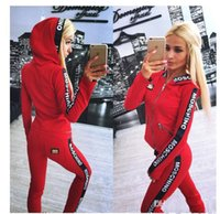 Wholesale New desinger tracksuits piece set Women Letter Pink Print Sport hoody Suit Hoodies Sweatshirt Pant Jogging suits Sportswear Costume pc Set