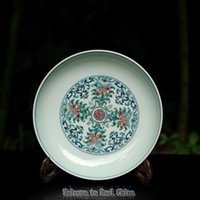 antique green dishes - Tea Pot Plate Full Manual Constracting Colors Up market Product Five Blessing Dish Shou Character Ceramic Plate Hanging Plate