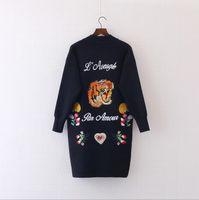 alphabet sweater - 2016 new female big tiger embroidered flowers alphabet animal fashion knit cardigan long sweater suit coat