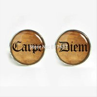 Wholesale 2016 Carpe Diem Cufflinks Carpe Diem Cuff link Glass Cufflink Vintage Cufflinks For Mens