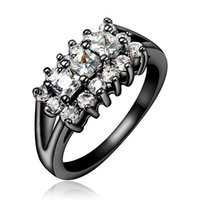 Wholesale Pave Setting Black Color Ring for Women with A Zircon