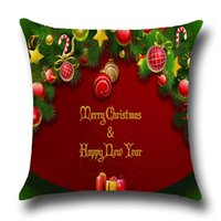 Wholesale Christmas Pouf Linen Cotton Square Throw Pillow Cases Deer Elk Trees Santa Claus Snowman Cushion Cover Europe Nordic Home Decor